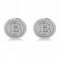 Cryptocurrency Bitcoin Cuff Link 14k White Gold