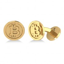 Cryptocurrency Bitcoin Cuff Link 14k Yellow Gold