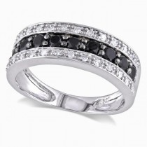 Black & White Diamond Three Row Wedding Band 14k White Gold 0.75ct