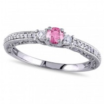 Pink & White Diamond Three Stone Engagement Ring 14k Gold (0.50ct)