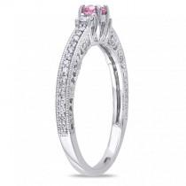 Pink & White Diamond Three Stone Engagement Ring 14k Gold (0.50ct)