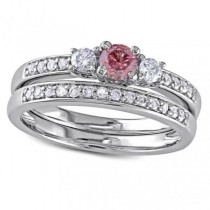 Pink & White Diamond Three Stone Bridal Set 14k White Gold (0.50ct)