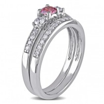 Pink & White Diamond Three Stone Bridal Set 14k White Gold (0.50ct)