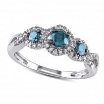 Blue & White Diamond Twisted Three Stone Ring 14k White Gold (0.50ct)