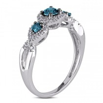 Blue & White Diamond Twisted Three Stone Ring 14k White Gold (0.50ct)
