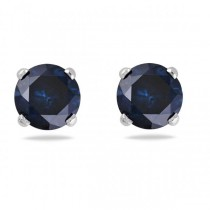 Blue Diamond 4 Prong Stud Earrings 14k White Gold (1.00ct)
