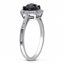 Black & White Diamond Engagement Ring 14k White Gold (1.00ct)