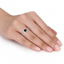 Black & White Diamond Euro Shank Engagement Ring 14k Gold (1.20ct)