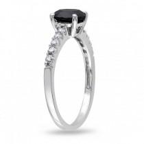 Black & White Diamond Engagement Ring 14k White Gold (1.25ct)