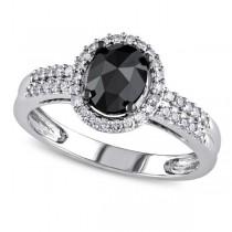 Black & White Diamond Oval Engagement Ring 14k White Gold (1.00ct)