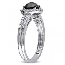Black & White Diamond Oval Engagement Ring 14k White Gold (1.00ct)|escape