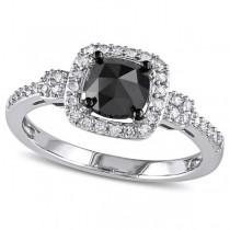 Black & White Diamond Halo Engagement Ring 14k White Gold (1.00ct)