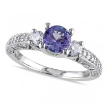 Diamond & Tanzanite Three Stone Engagement Ring 14k White Gold 1.50ct