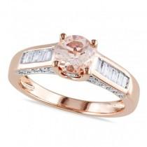 Morganite & Baguette Diamond Engagement Ring 14k Rose Gold (1.30ct)