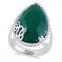 Pear Green Onyx & Diamond Fashion Ring Sterling Silver (12.87ct)
