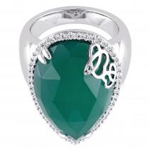 Pear Green Onyx & Diamond Fashion Ring Silver (12.87ct)