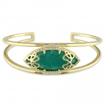 Marquise Green Onyx & Diamond Bangle Bracelet Yellow Silver (12.80ct)