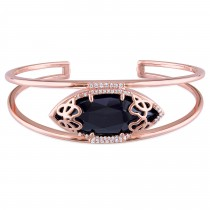 Marquise Black Onyx & Diamond Bangle Bracelet Pink Silver (12.80ct)