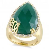 Pear Green Onyx & Diamond Fashion Ring Yellow Silver (12.88ct)
