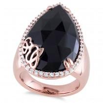 Pear Black Onyx & Diamond Fashion Ring Pink Silver (12.88ct)