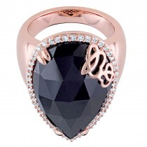 Pear Black Onyx & Diamond Fashion Ring Pink Sterling Silver (12.88ct)|escape