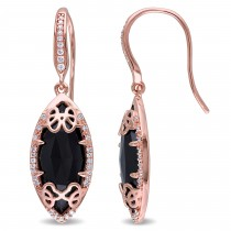 Marquise Black Onyx & Diamond Earrings Pink Sterling Silver (6.45ct)