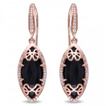 Marquise Black Onyx & Diamond Earrings Pink Sterling Silver (6.45ct)|escape