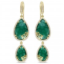 Pear Green Onyx & Diamond Earrings Yellow Sterling Silver (16.36ct)