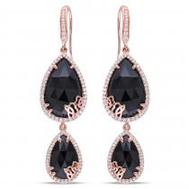 Pear Black Onyx & Diamond Dangle Earrings Pink Sterling Silver (17.95ct)