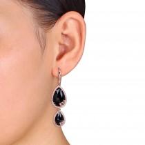 Pear Black Onyx & Diamond Dangle Earrings Pink Sterling Silver (17.95ct)