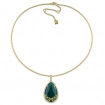 Pear Green Onyx & Diamond Necklace Yellow Sterling Silver (24.73ct)