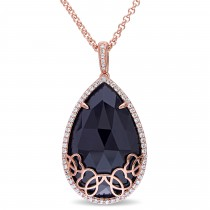 Pear Black Onyx & Diamond Necklace Pink Sterling Silver (23.43ct)