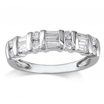 Diamond Baguette Bar Set Fashion Ring 14K White Gold (0.50ct)