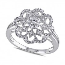 Diamond Round Floral Fashion Ring 14k White Gold (0.30ct)