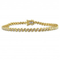 Diamond Accented Tennis Bracelet Yellow Gold on Sterling Silver (0.50ct)