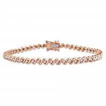 Diamond Accented Tennis Bracelet Rose Gold on Sterling Silver (0.50ct)