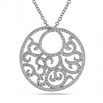 Diamond Filigree Circle Pendant Necklace 18k White Gold (0.87ct)