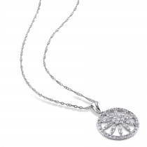 Diamond Flower Circle Pendant Necklace 14k White Gold (0.50 ct)