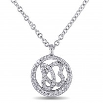 Diamond Circle Heart Pendant Necklace 14k White Gold (0.25ct)