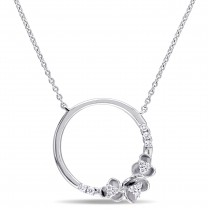 Diamond Flower Cricle Pendant Necklace 14k White Gold (0.16ct)