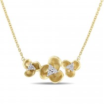 Triple Flower Diamond Pendant Necklace 14k Yellow Gold (0.09)