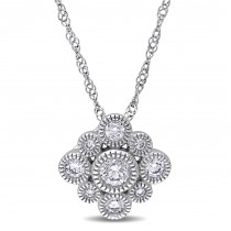 Diamond Round Vintage Pendant Necklace 14k White Gold (0.30ct)