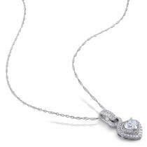 Diamond Heart & Round Twisted Pendant Necklace 14k White Gold (0.63ct)