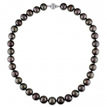 Round Black Tahitian Pearl Strand Necklace 14k White Gold (11-13mm)