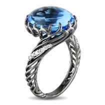 Oval Cabochon Blue Topaz & Diamond Fashion Ring 18k White Gold (9.10ct)