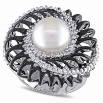 Diamond & South Sea Pearl Statement Ring 18k White Gold (10.5-11 mm)