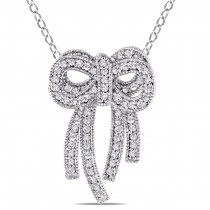 Diamond Double Bow Fashion Pendant Necklace 14k White Gold (0.44ct)