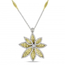 Diamond Textured Flower Pendant Necklace 18k Two Tone Gold (1.14ct)
