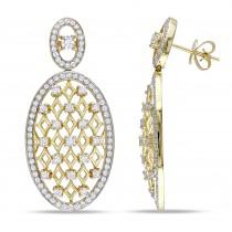 Diamond Dangling Lattice Ear Pin Earrings 14k Yellow Gold (0.76ct)