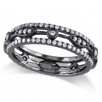Diamond Eternity Fashion Ring 14k Black Rhodium Plated Gold (0.12ct)